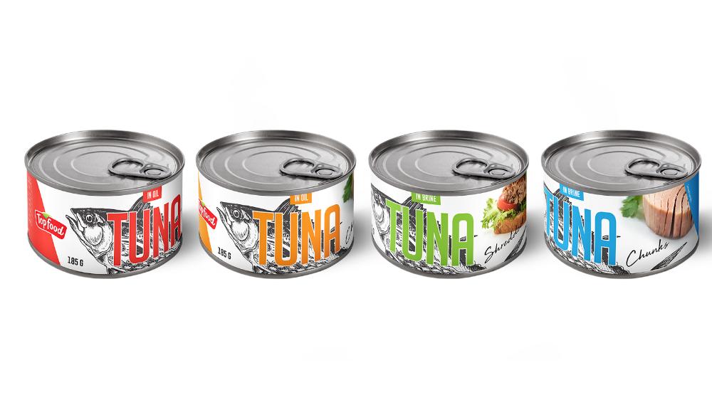 Topfood Canned Tuna Food Packaging Design Packaging Labels Design Creative Packaging Design
