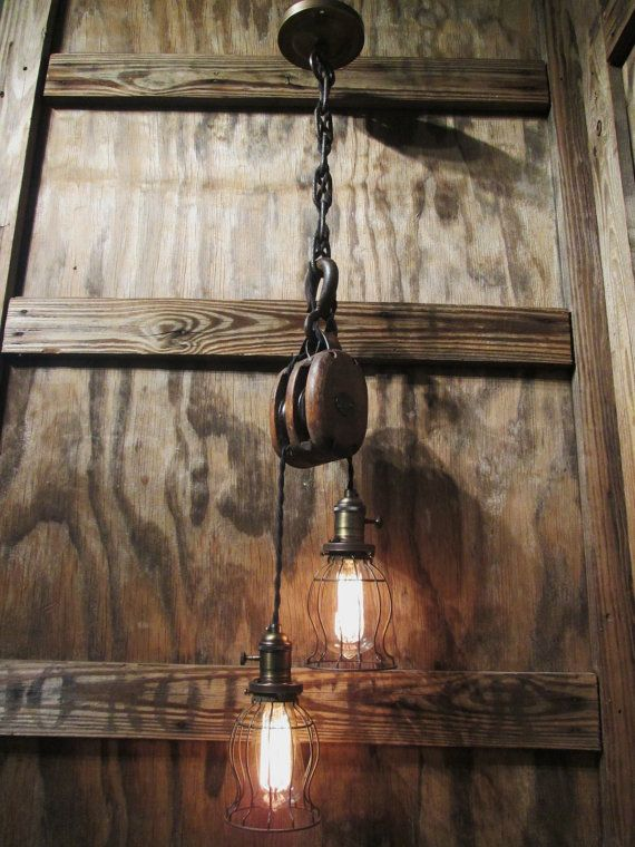 Vintage Industrial Pulley Pendant Drop Light with Trouble Cage ...