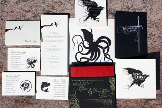 """Inspiration For A Seriously Inventive Game Of Thrones-Themed Wedding #refinery29  http://www.refinery29.com/bridal-guide/12#slide-4  Lion in the Sun designed this custom invitation suite for GoT fans Hsiao and Tony. With gold foil, black museum board, and unconventional silhouettes, it was equal parts glamorous and macabre. Don't forget to include their riff on the Stark house motto (""""Wedding is coming!"""") for your own save-the-dates!"""