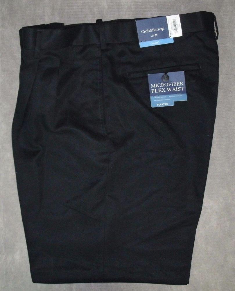 Croft u Barrow Classic Fit Waist Flex Pleated Cuffed Pants Menus Sz
