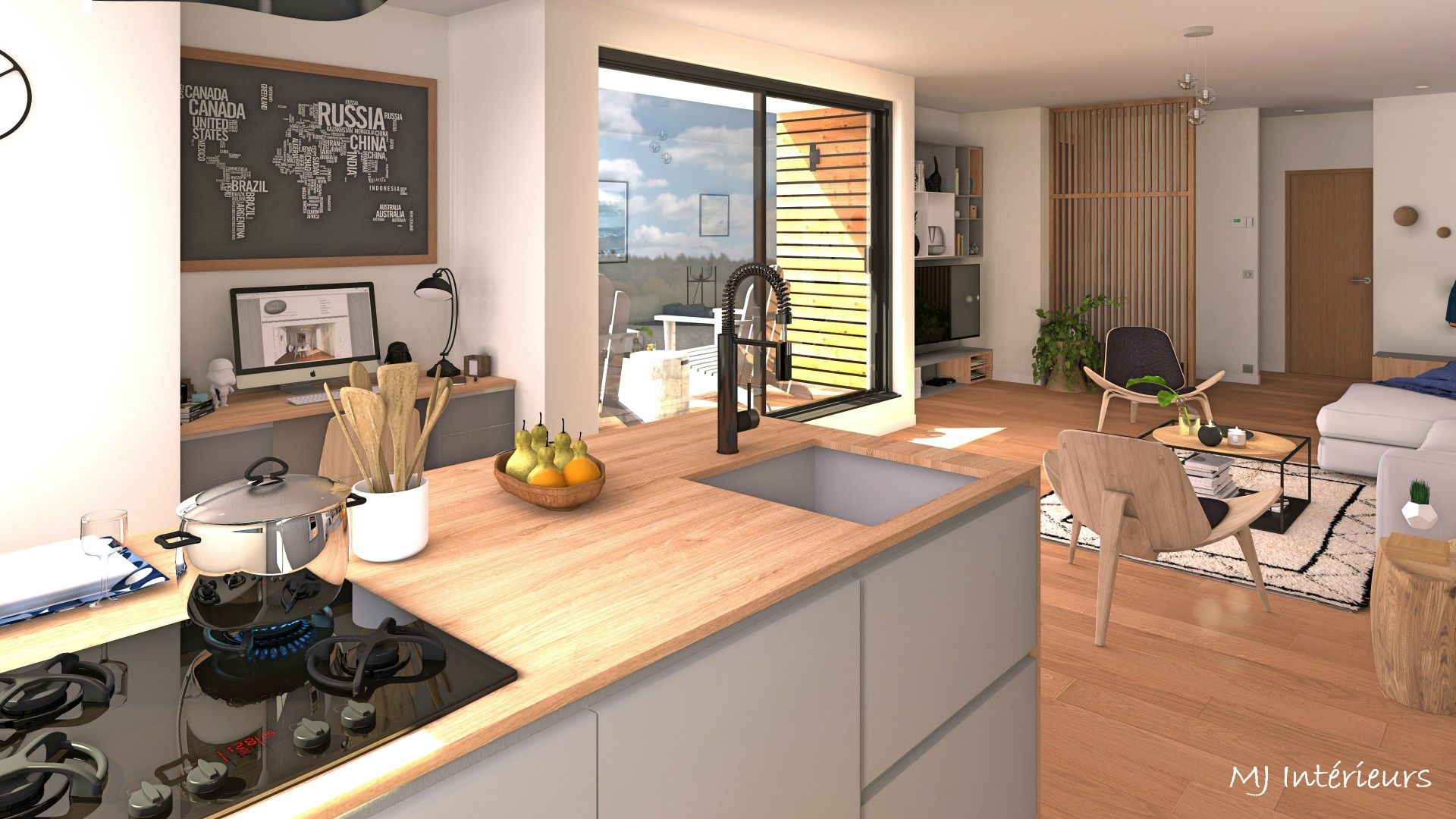 pi ce vivre ambiance masculine avec cuisine ouverte salon et coin bureau tons neutres gris. Black Bedroom Furniture Sets. Home Design Ideas