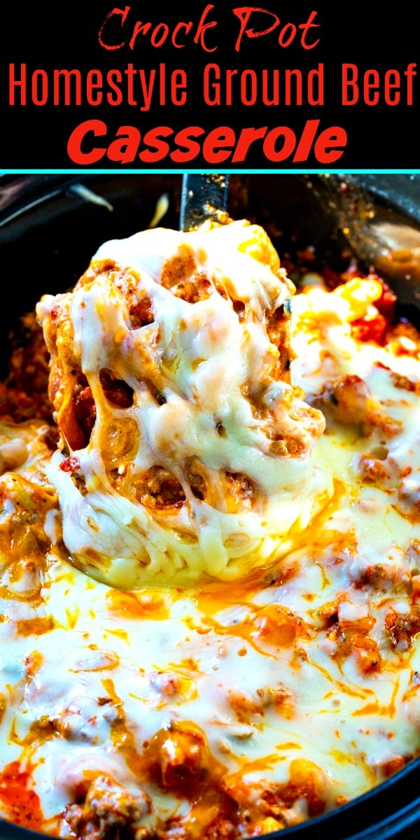 Crock Pot Homestyle Ground Beef Casserole with 4 types of cheese!