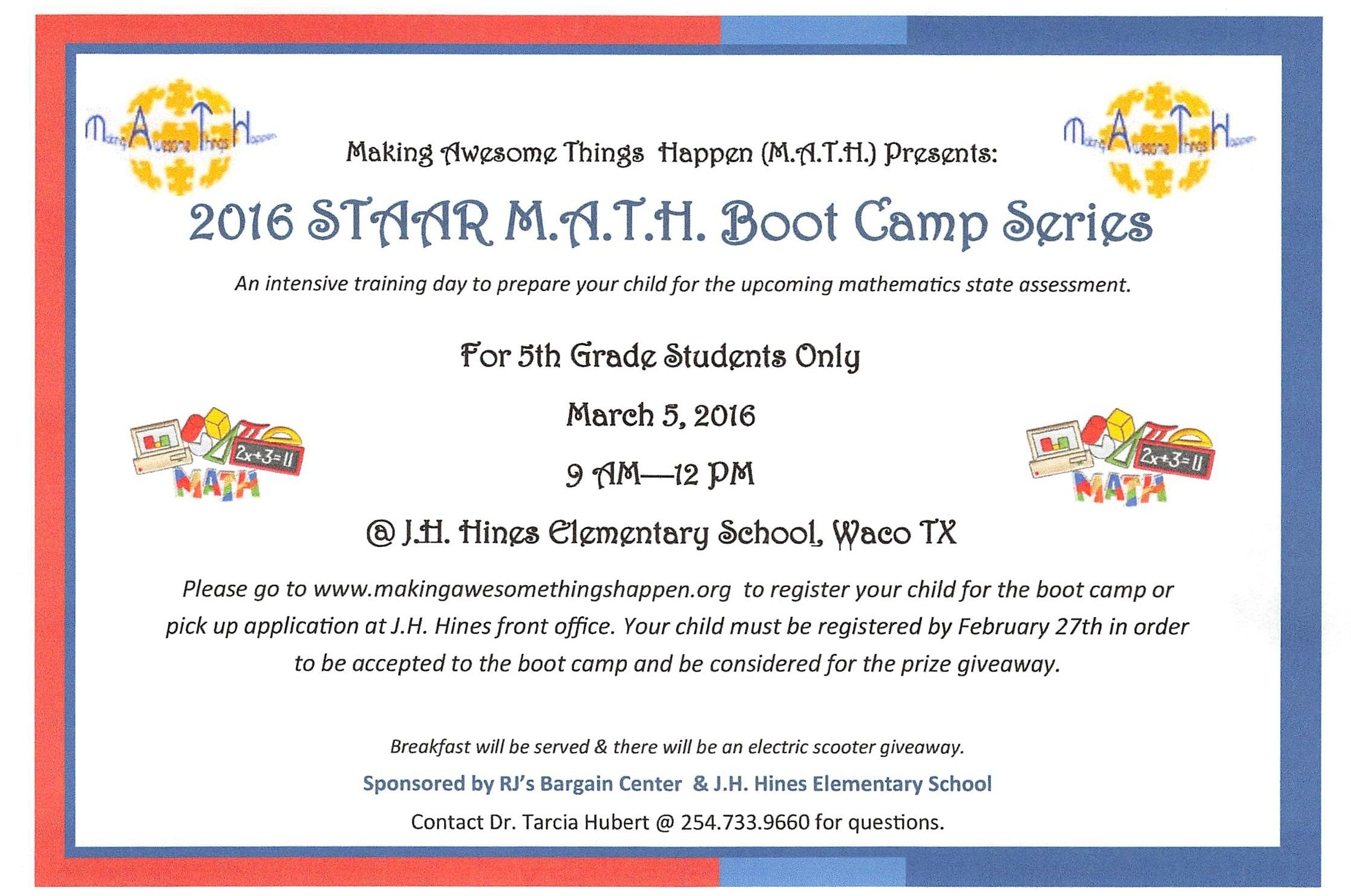 M A T H Staar Boot Camp