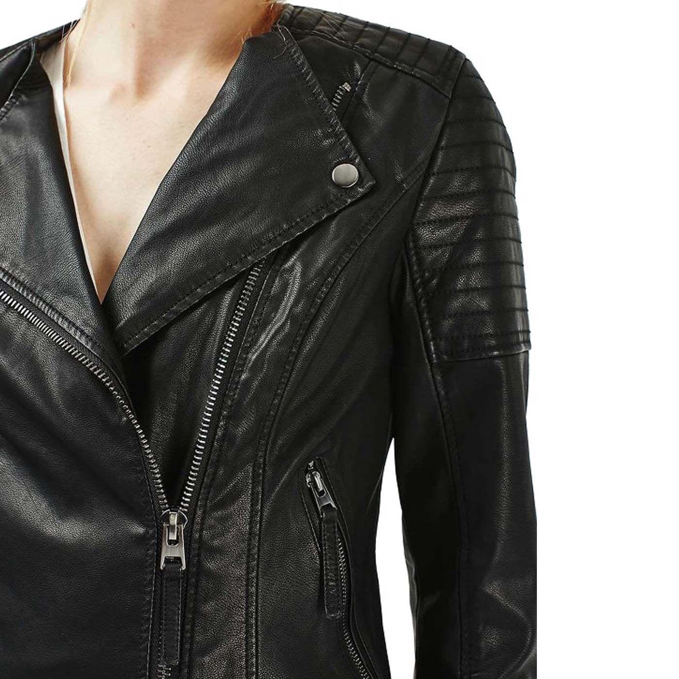 Black Womens Leather Motorcycle Jacket Leather