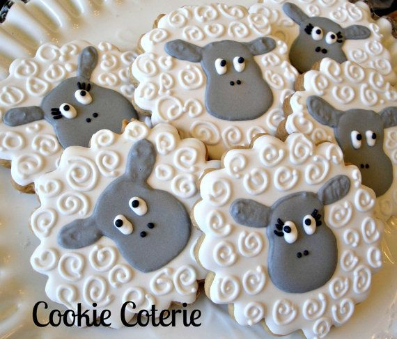 Sheep Little Lamb Decorated Cookies Birthday Party Baby Shower Cookie Favors Easter Cookies By