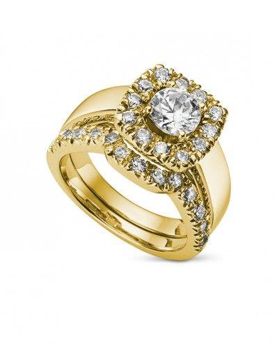 Kitrell - 1.65ctw Round Classic or Forever Brilliant® Moissanite Halo Wedding Set, 14k White, Yellow or Rose Gold