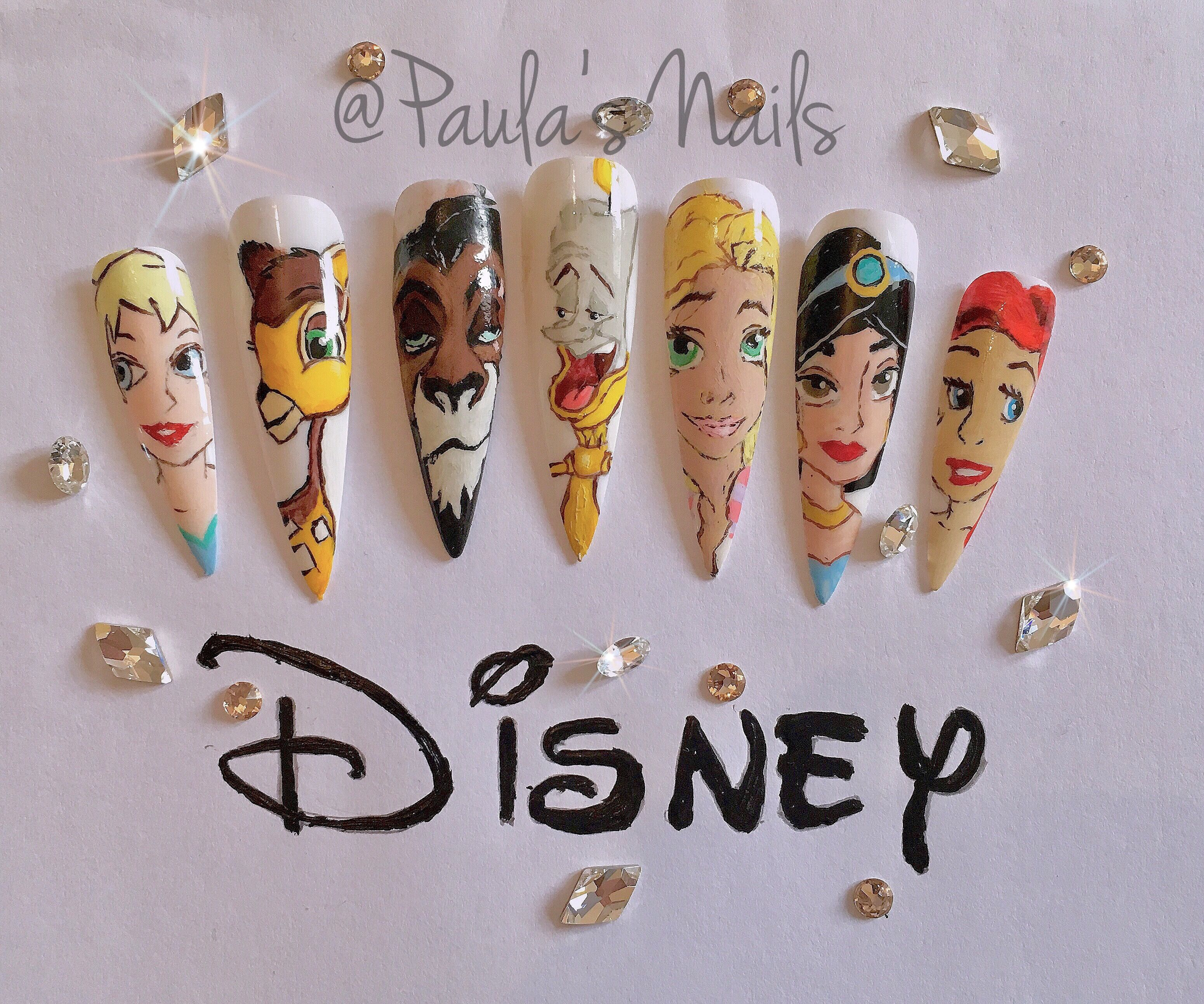 Paula\'s Nails Disney nail art my best work yet #Disney | Acrylic ...