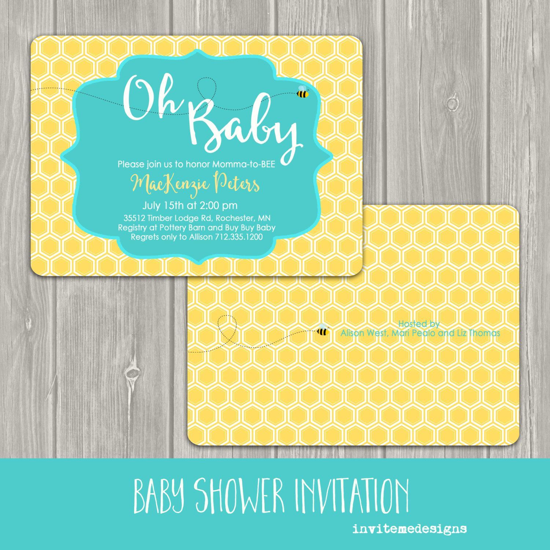 Contemporary Bumble Bee Baby Shower Invitation Mold Invitations