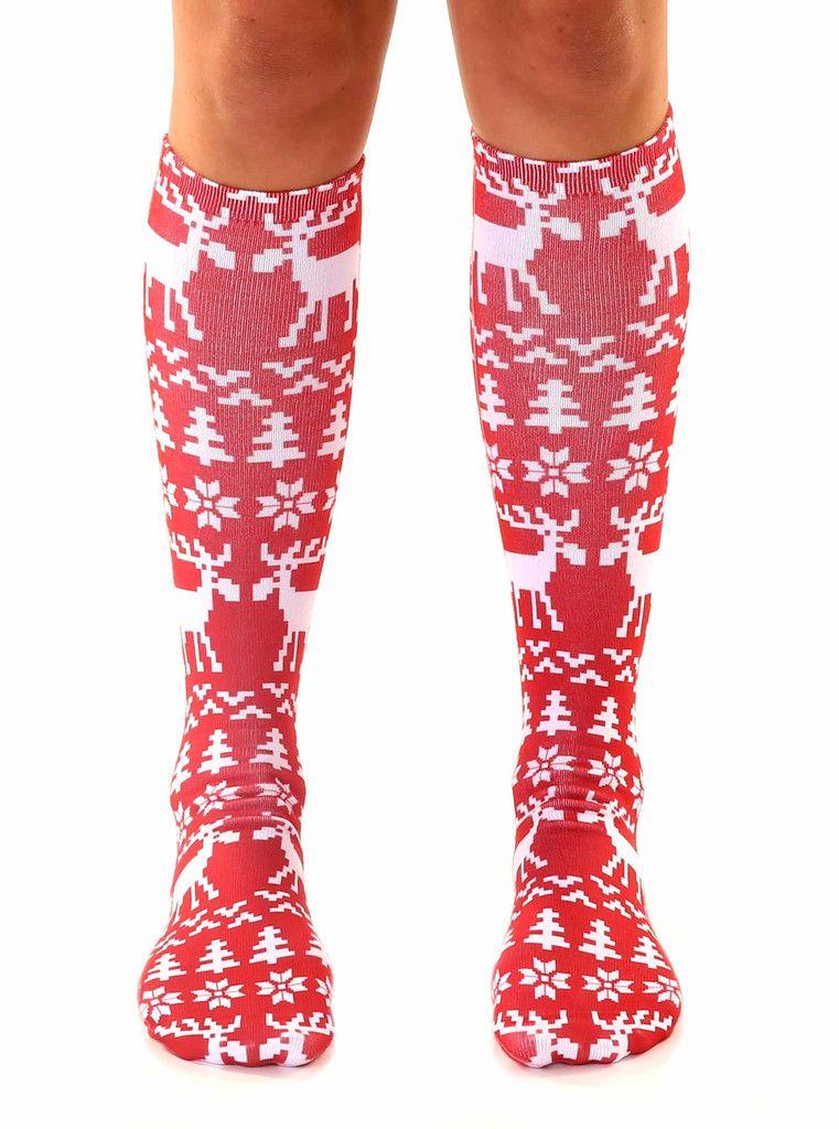 0fcfc2733ca Ugly Sweater Moose Knee High Socks  15 livingroyal.com