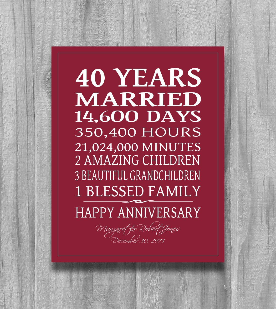 RUBY 4Oth Anniversary Gift Personalized By