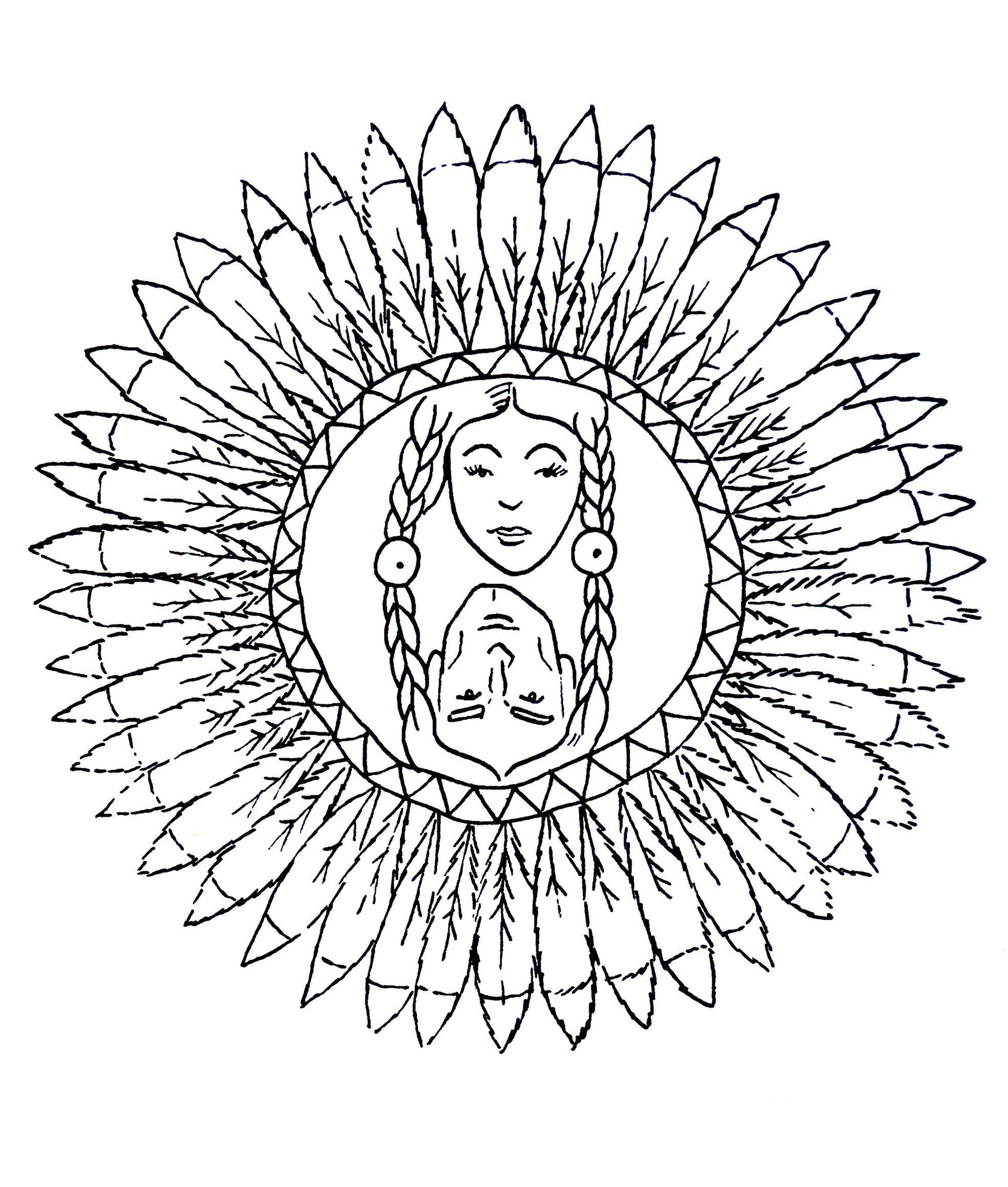 Free Mandalas page mandalatocolorcharactersindians