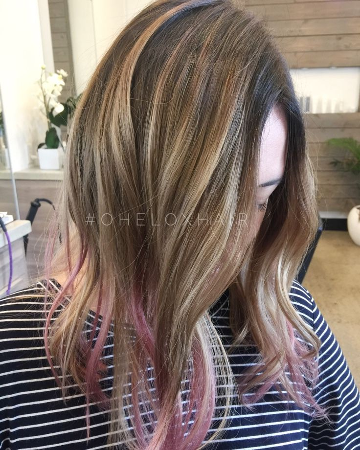 Beige blonde balayage with pink tips by Ohelo Correa ig OHELOXHAIR