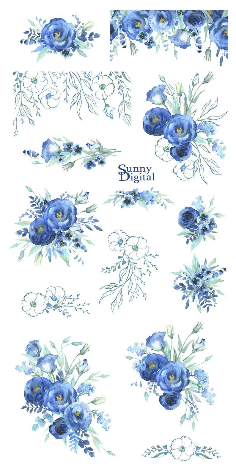 Blue bouquets watercolor handpainted clipart cobalt spray