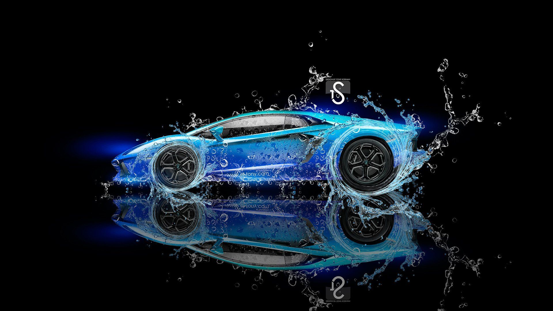 Lamborghini Aventador Water Fantasy Neon Blue El Tony Cars Tony Kokhan  Design Black Lamborghini Water Effects Black Background Blue Neon Neon  Photoshop HD ...
