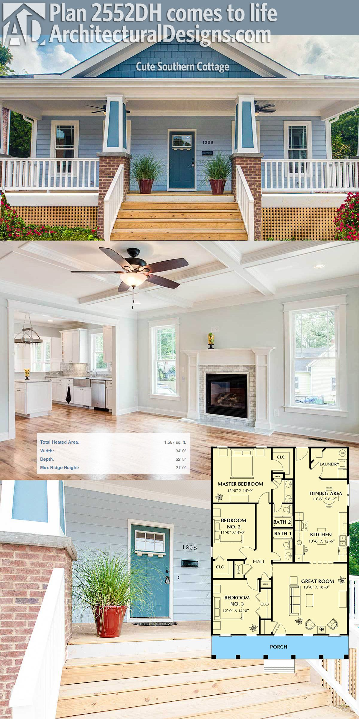 Plan 2552DH Cute Southern Cottage Cottage house Square feet and