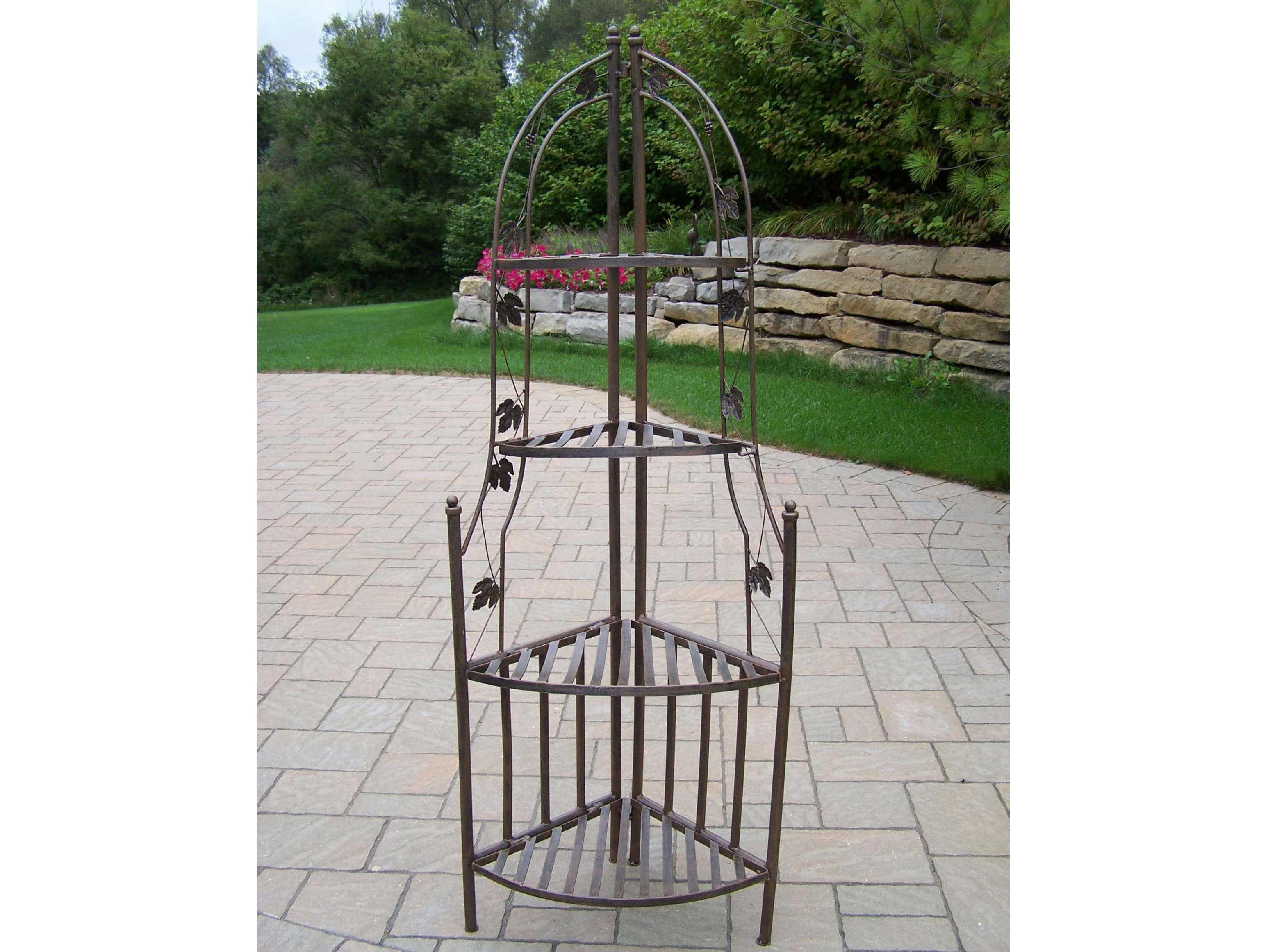 Rod iron shelves window boxes oakland living wrought iron corner shelf plant stand - Corner shelf for plants ...