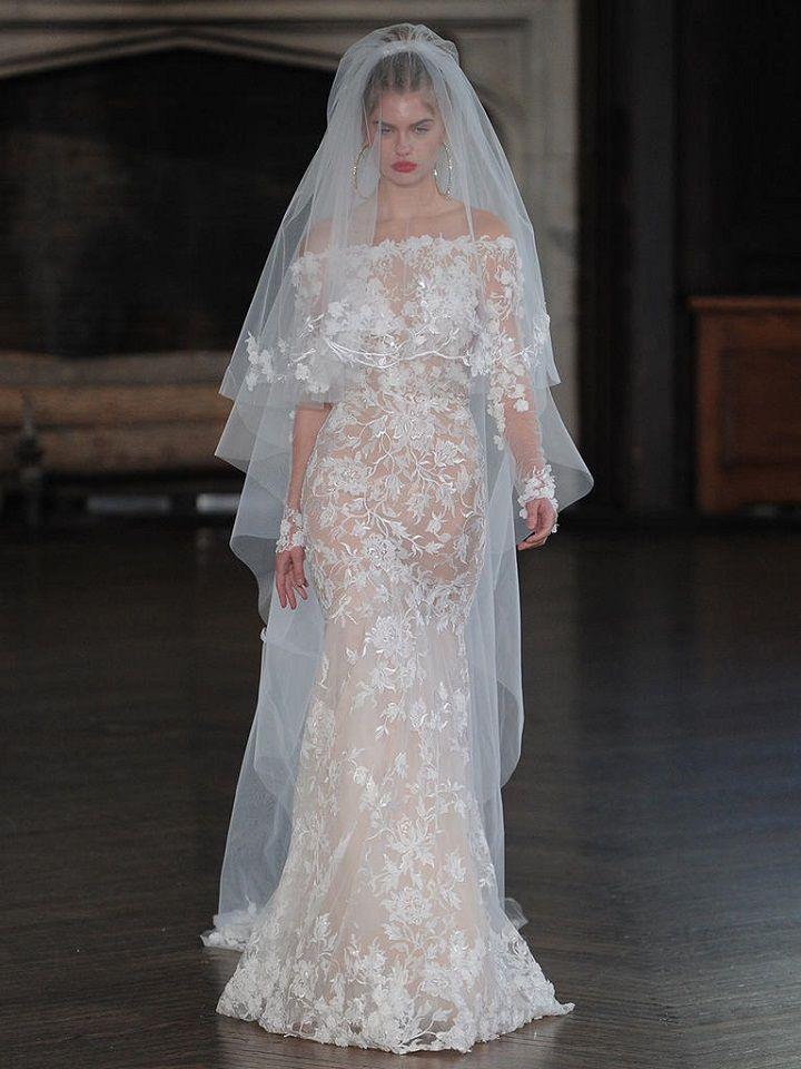 Berta sheath wedding gown with sheer lace | itakeyou.co.uk #wedding #weddingfashion #bridal #weddingdress #weddinggown #bridalgown #weddingdresses #weddinggowns #berta #bridalinspiration #weddinginspiration #engaged