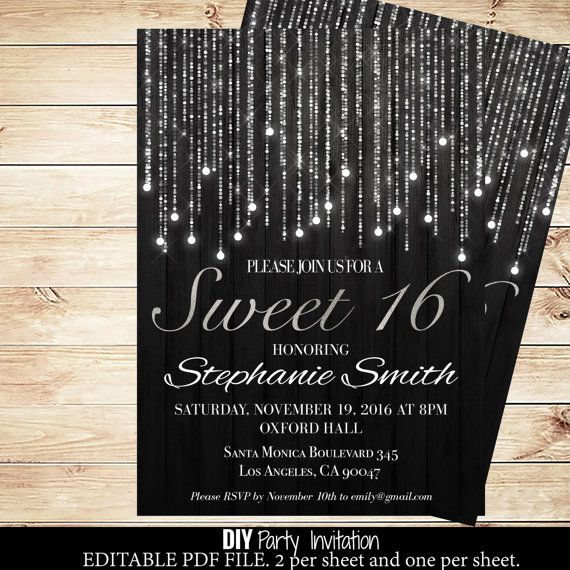 Black and silver sweets birthday invitations by GlamPaperie – Printable Sweet 16 Birthday Invitations