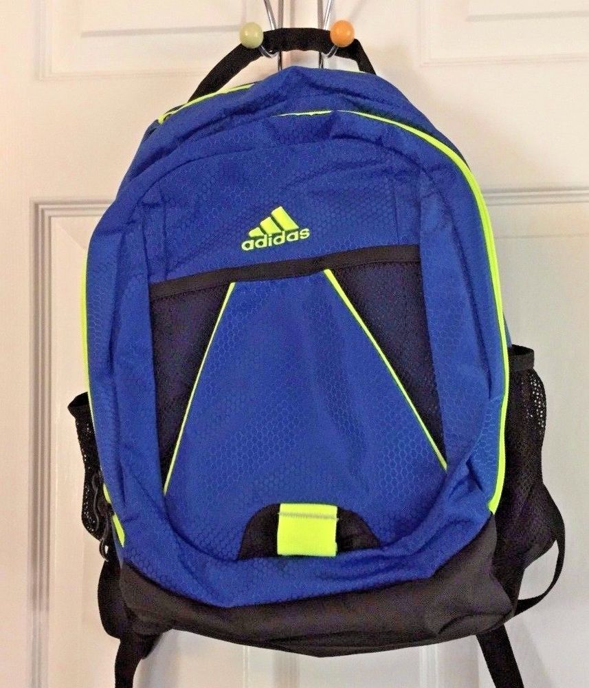 2731076ec3d6 Adidas Large Backpack Bright Blue Fluorescent Yellow Black Expandable  Excellent  adidas  Backpack