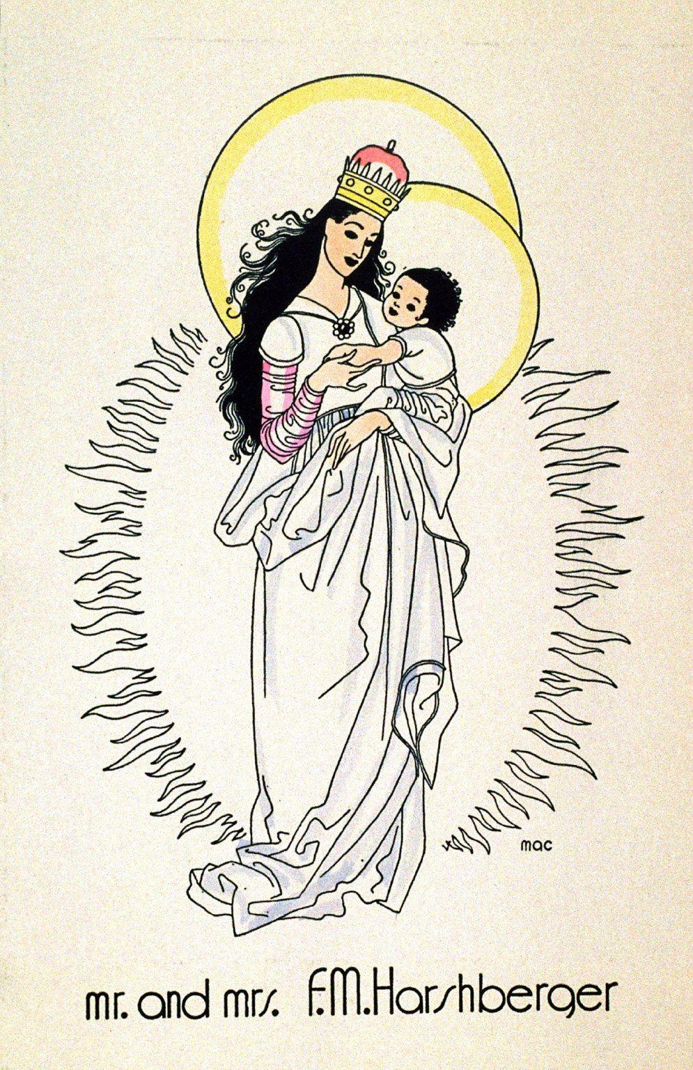 Mac Harshberger Christmas Card Madonna And Circa 1924 Fine Arts