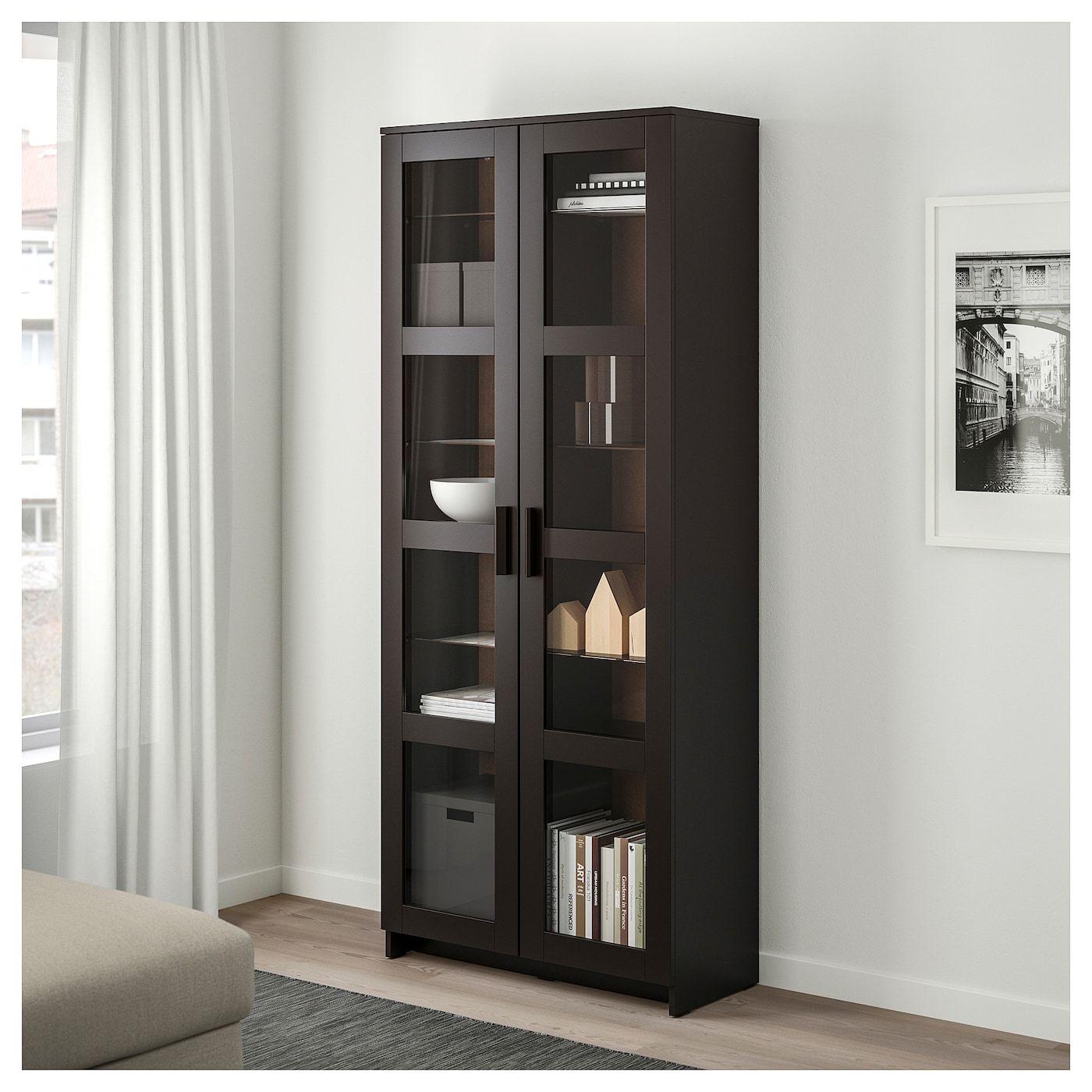 Brimnes Vitrinekast Zwart 80x190 Cm Ikea Glass Cabinet Doors Glass Shelves Glass Door