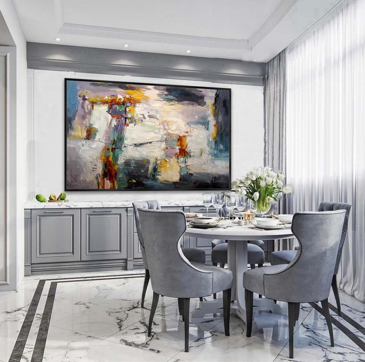 Extra large abstract handmade palette knife painting blue white