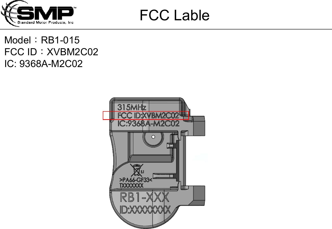 Standard Motor Products Inc Tpms M2c02 Xvbm2c02 Fcc
