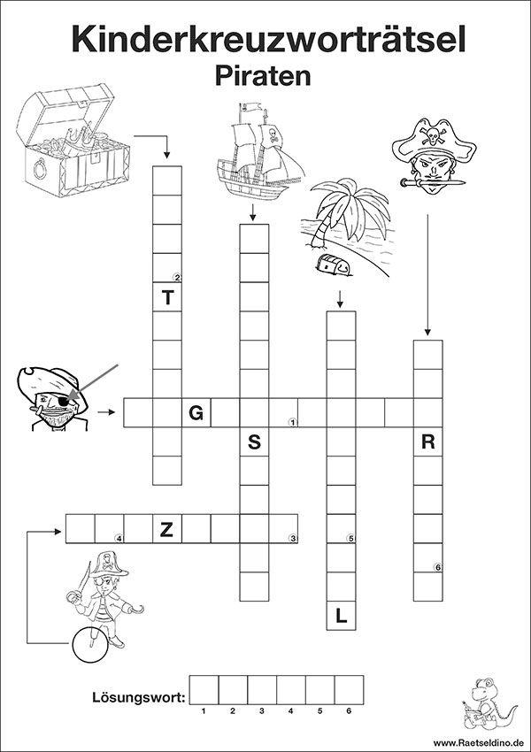 Kostenloses Kinderkreuzworträtsel mit Piraten | Schulideen ...