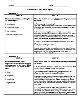 All summer in a day quiz parcc based teaching pinterest the all summer in a day quiz contains 10 multiple choice text dependent questions with evidence based answers based on the short story all summer in a fandeluxe Choice Image