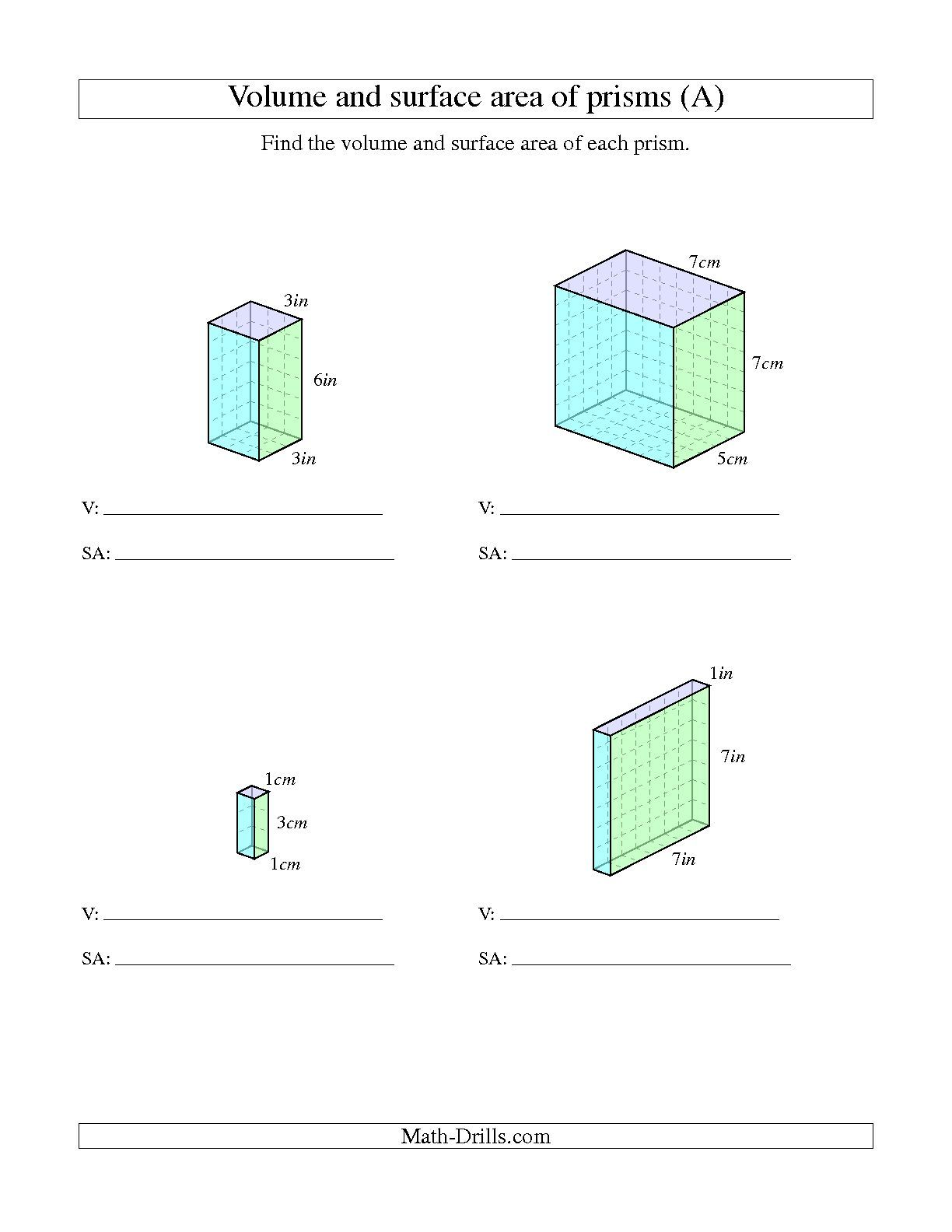 hight resolution of The Volume and Surface Area of Rectangular Prisms with Whole Numbers (A)    Area worksheets