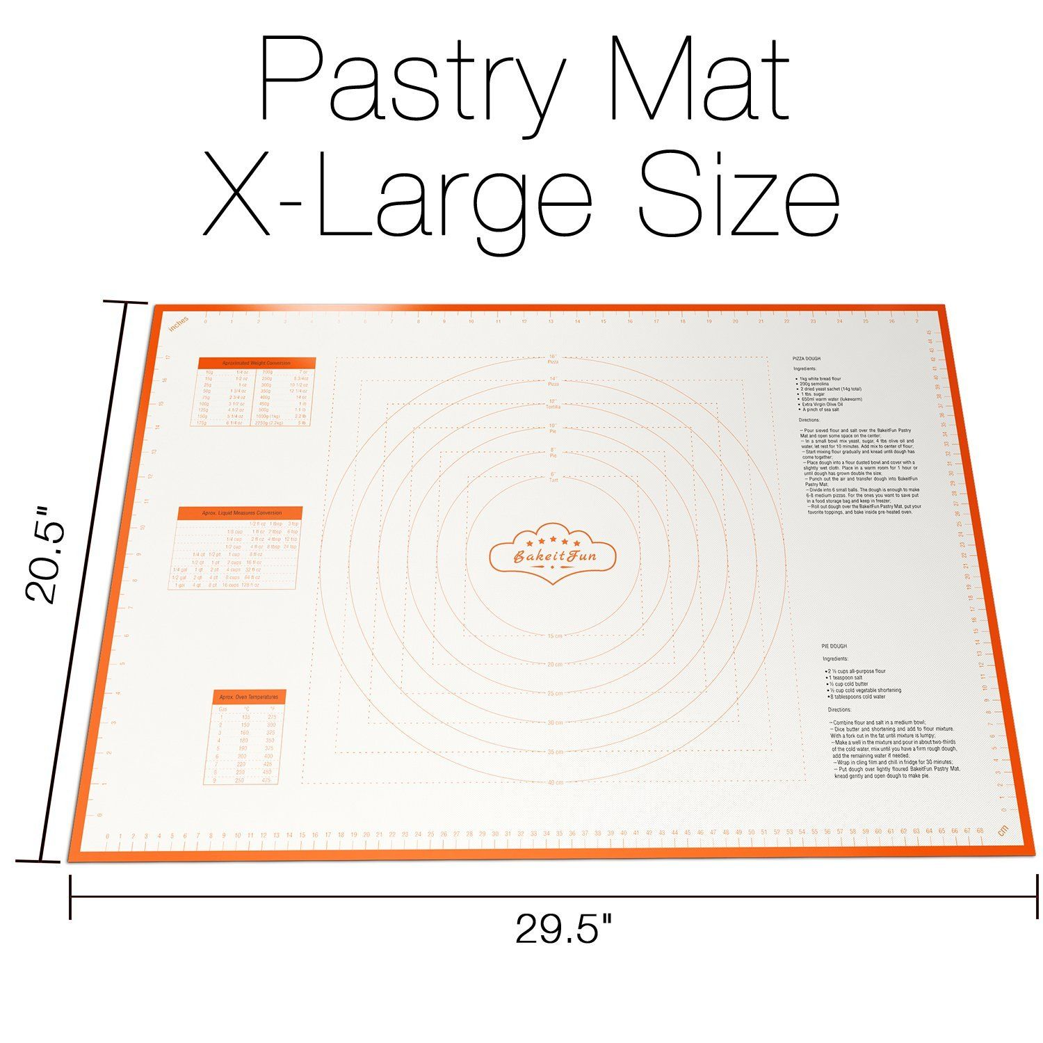 Amazon.com   BakeitFun X-Large Silicone Pastry Mat With Measurements, 29.5 x 20.5 Inches, Full Sticks To Countertop For Rolling Dough, Conversion Information Included, Perfect Fondant Surface, Jumbo Size, Orange: Chip & Dip Sets