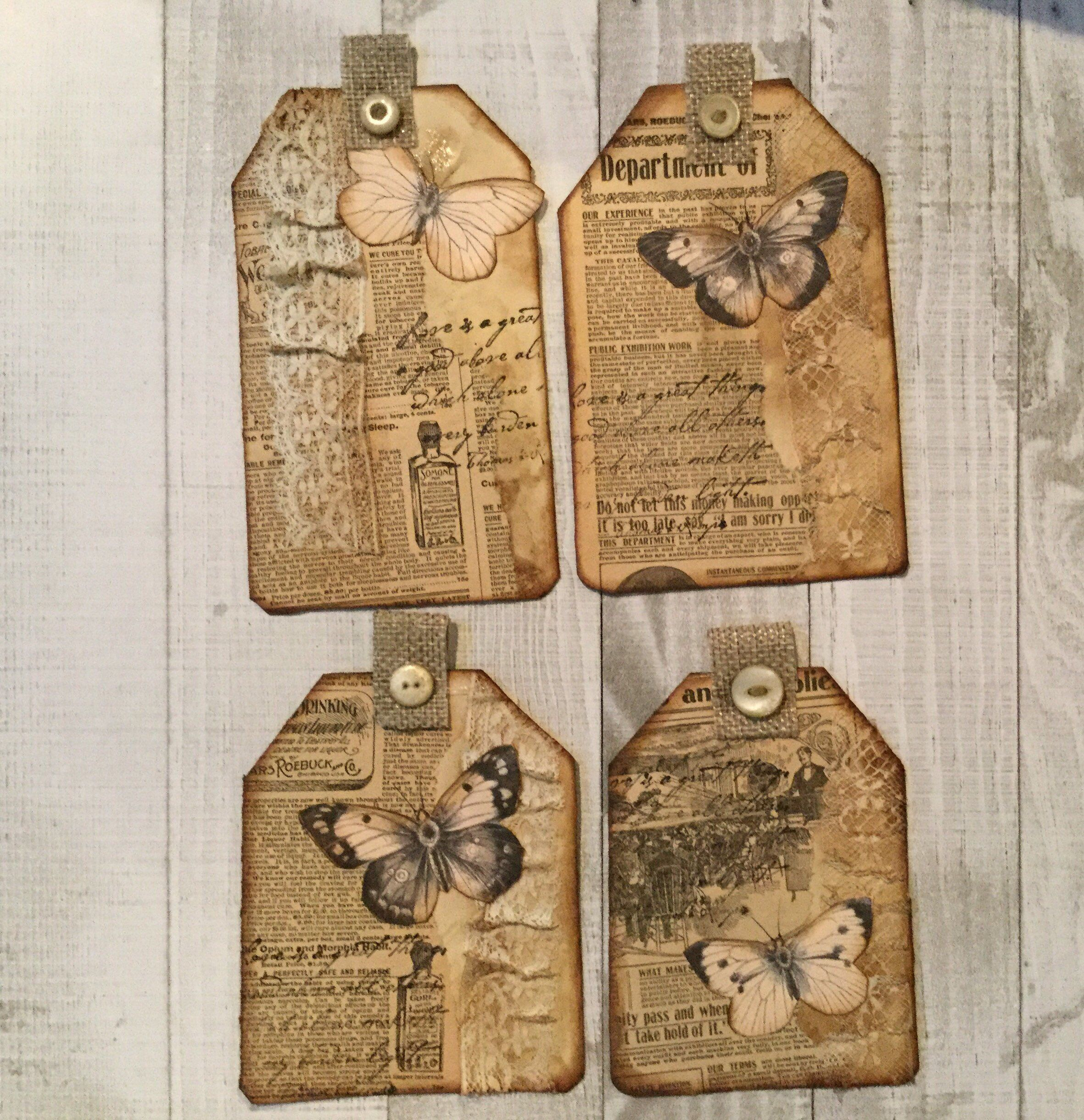 Four distressed tags for junk journals a personal favorite from my etsy shop httpsetsy gumiabroncs Gallery