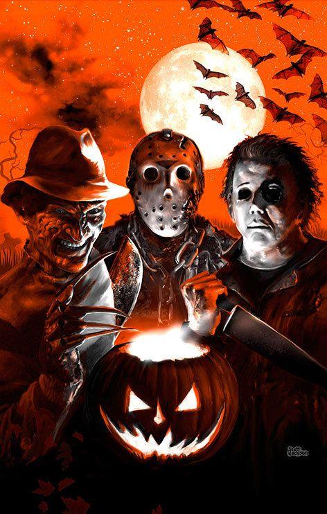 $20.00+ 3 SIZES Halloween Scream Team poster art print by Scott Jackson Monsterman Graphic Jason Voorhees Freddy Krueger Michael Myers horror movie slasher art poster