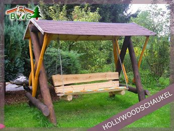 hochwertige holz hollywoodschaukel highlight im garten. Black Bedroom Furniture Sets. Home Design Ideas