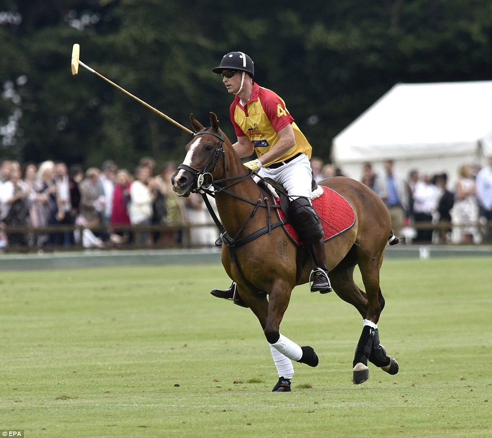 Prince William is pictured galloping on his horse during the Jerudong Trophy 2017 polo tou...