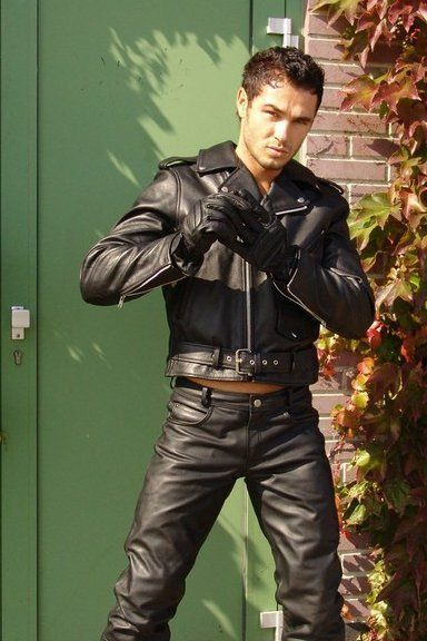 Model Jesse Ares Wearing Black Leather Motorcycle Outfit -5291