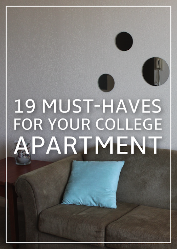 19 must haves for your college apartment different shapes kitchen living and check lists. Black Bedroom Furniture Sets. Home Design Ideas