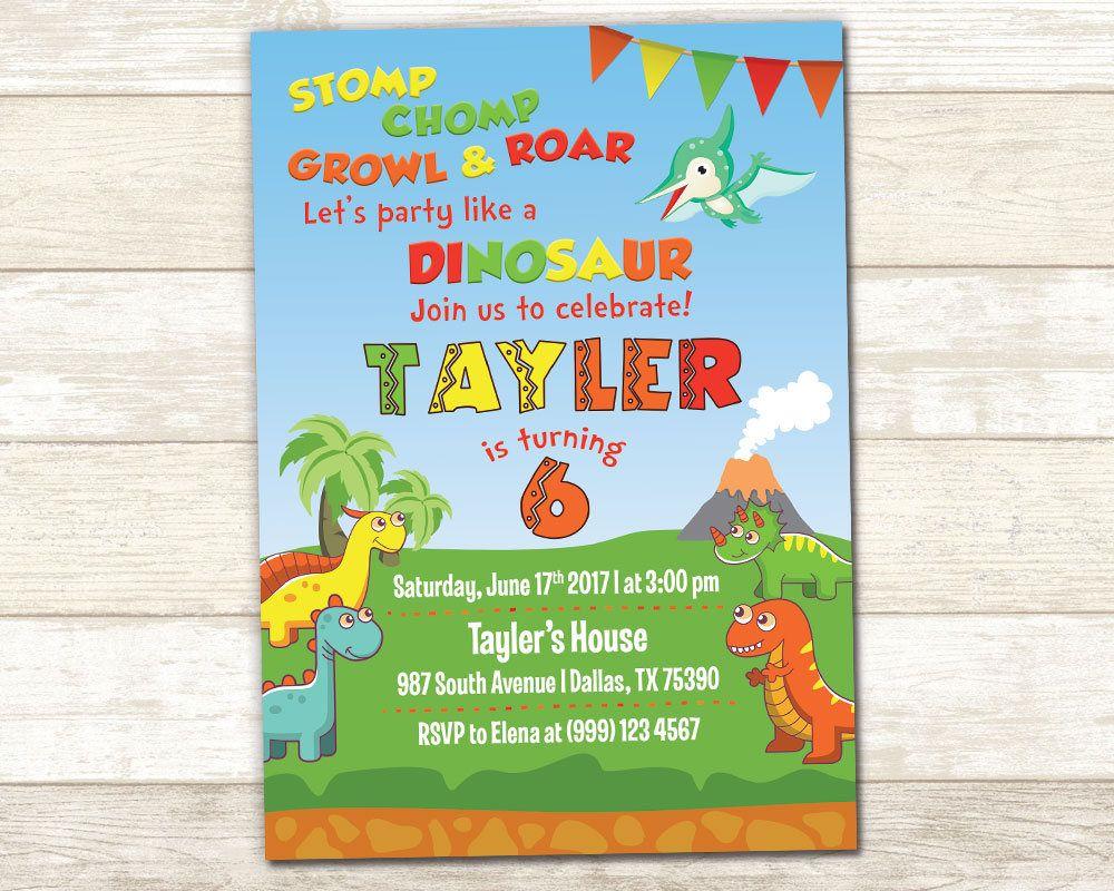 Dinosaur Birthday Invitation - Dinosaur Birthday Invite - Dinosaur ...
