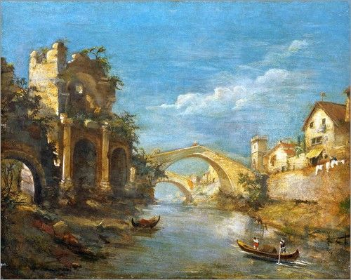 WORKSHOP OF FRANCESCO GUARDI. CAPRICE WITH BOATS, BRIDGES. RUINED ARCH AND RUINED TOWER ON A RIVER. oil on canvas.