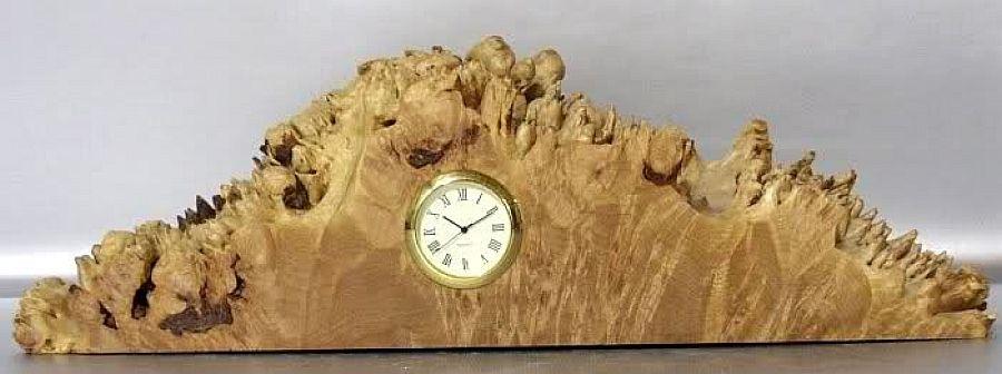 Handmade Oregan Burled Birds Eye Maple Wood Clock No Two
