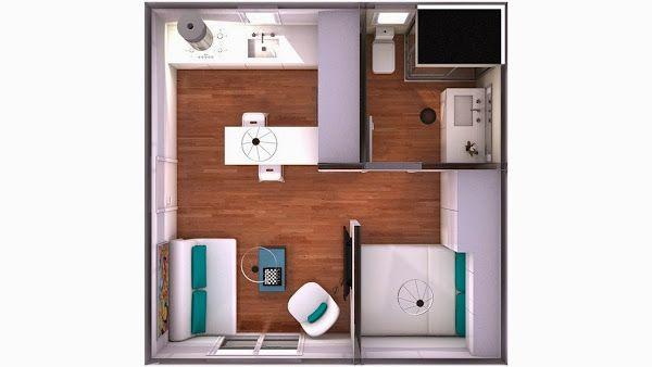 Minipiso 25m2 5x5 blanco con toques verdosos for Diseno de apartamento de una habitacion