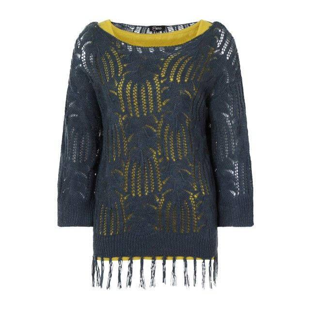Emreco Knit Top With Tassels Teal