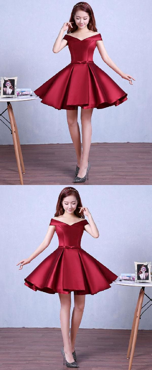 Burgundy knee length prom dress homecoming dress luu