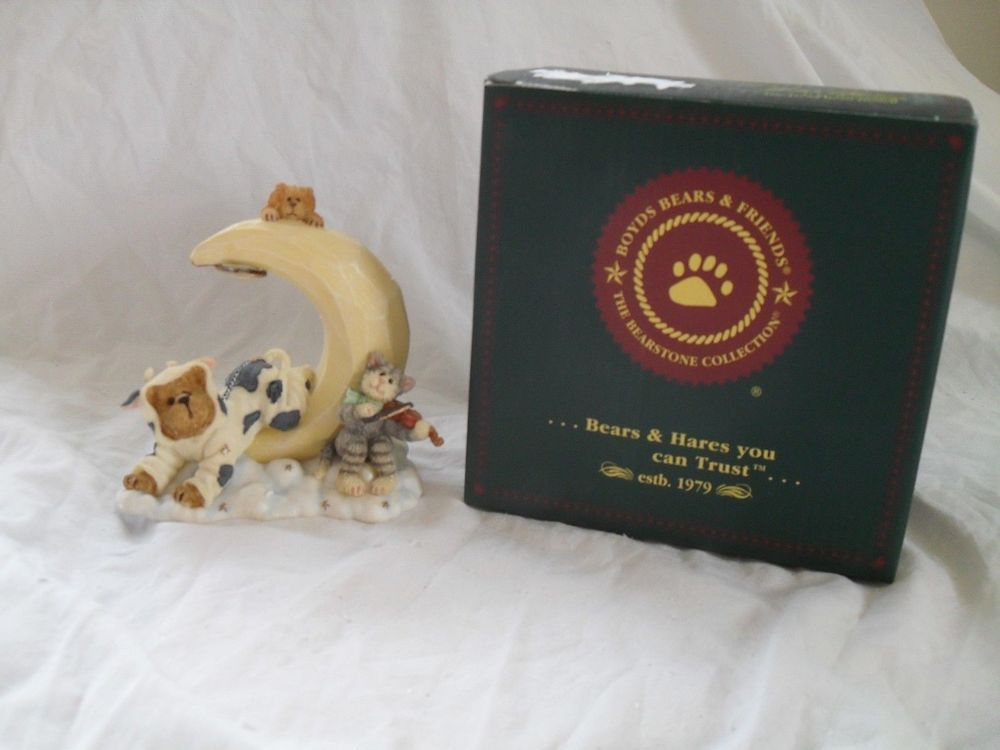 Boyds Bears Figurine Mookins Puss & Pooch The Bearstone Collection 2003 #2456 #2459