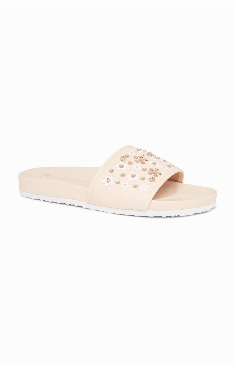 fd6e4ad88052 Primark - Nude Sequin Daisy Sliders Palm Beach Sandals