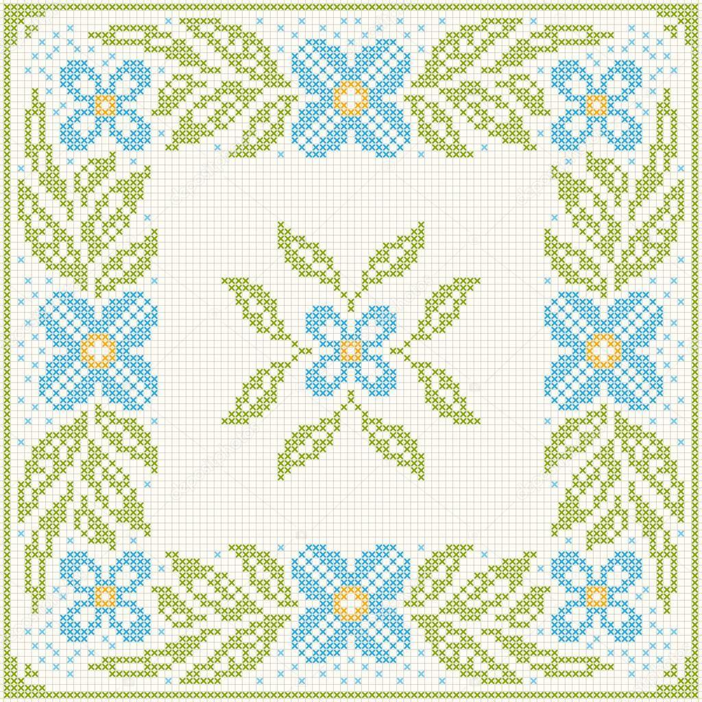 Descargar - Bordado punto cruz - flores y hojas — Ilustración de ...