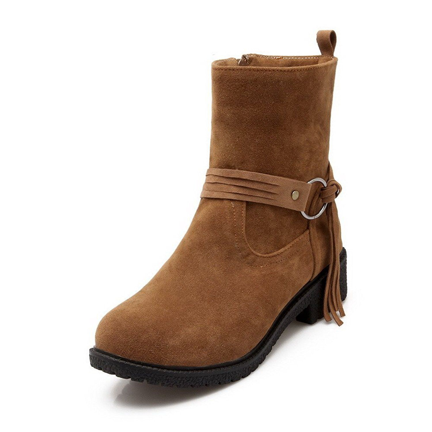 WeiPoot Womens Lace-up Low Heels Imitated Suede Solid Mid Top Boots