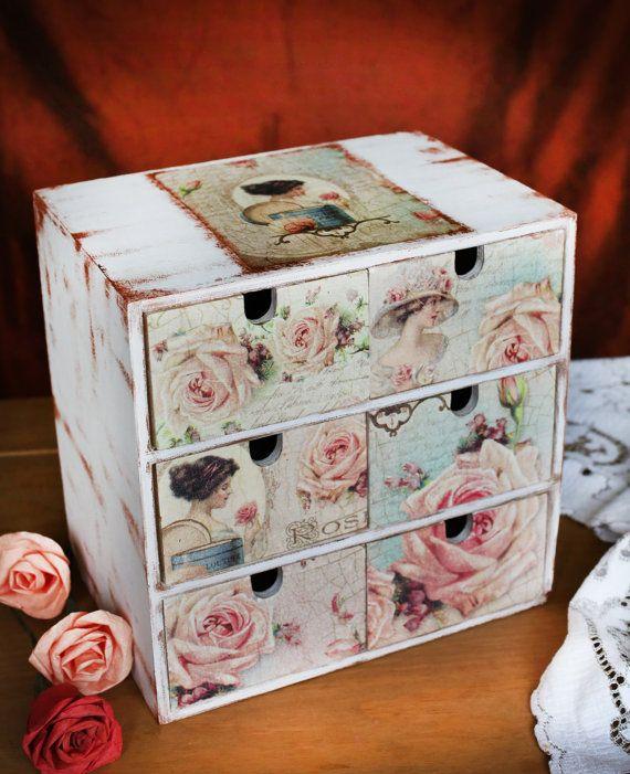 Big Jewellery box, Wooden box, Shabby chic box, Decoupage