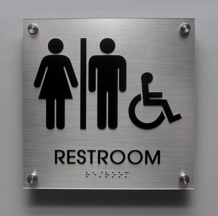 Brushed Aluminum Look Unisex ADA Restroom Sign With Handicap - Commercial bathroom signs