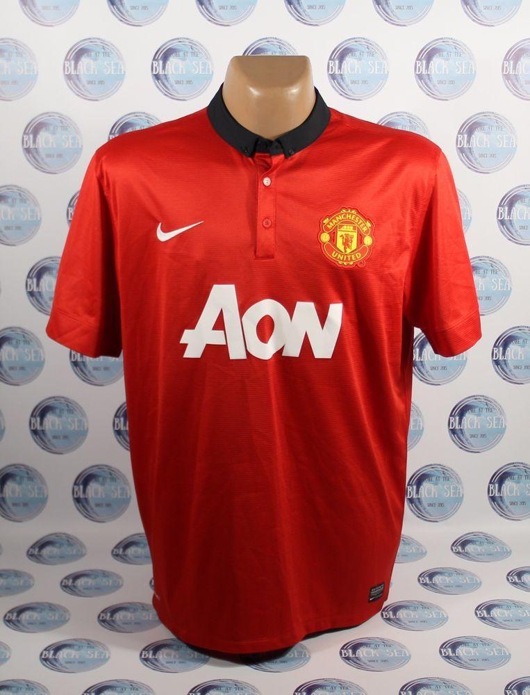 Manchester United 2013 2014 Football Soccer Shirt Jersey Trikot Camiseta Nike Xl Nike Manchesterunited Soccer Shirts Mens Tops Men S Polo Shirt